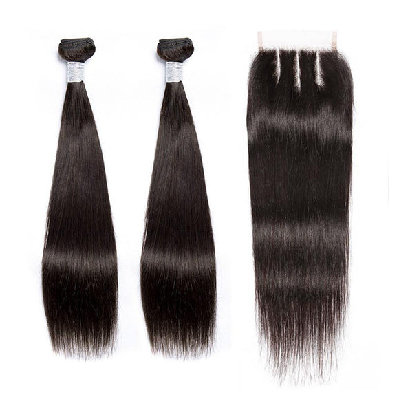 BUW Straight 2 Bundles With 4x4 Lace Closure Free Part 9A 100% Virgin Hair Natural Color