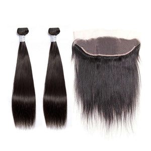 BUW Straight 2 Bundles With 13x4 Lace Frontal Free Part 9A 100% Virgin Hair Natural Color