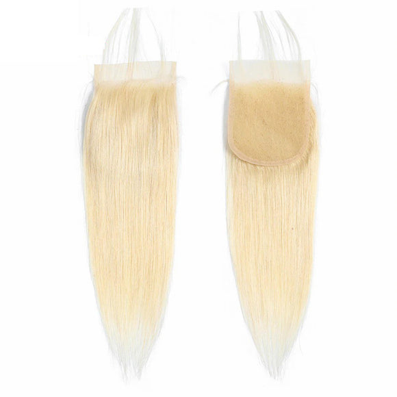 #613 Blonde 4x4 Lace Closure Straight 100% Virgin Hair Free Part