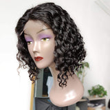 BUW Water Wave Small 4x4 Lace Closure Bob Wig 180% Density Natural Color with Baby Hair