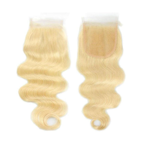 #613 Blonde 4x4 Lace Closure Body Wave 100% Virgin Hair Free Part