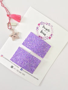 Oh Snap! Periwinkle - glitter hair clips