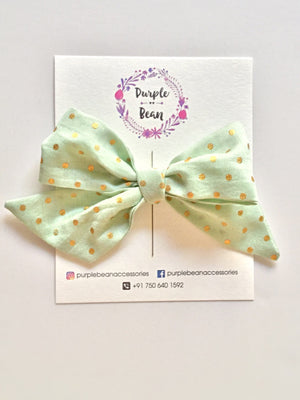 Mint Gold Polka | Hand-tied Bow