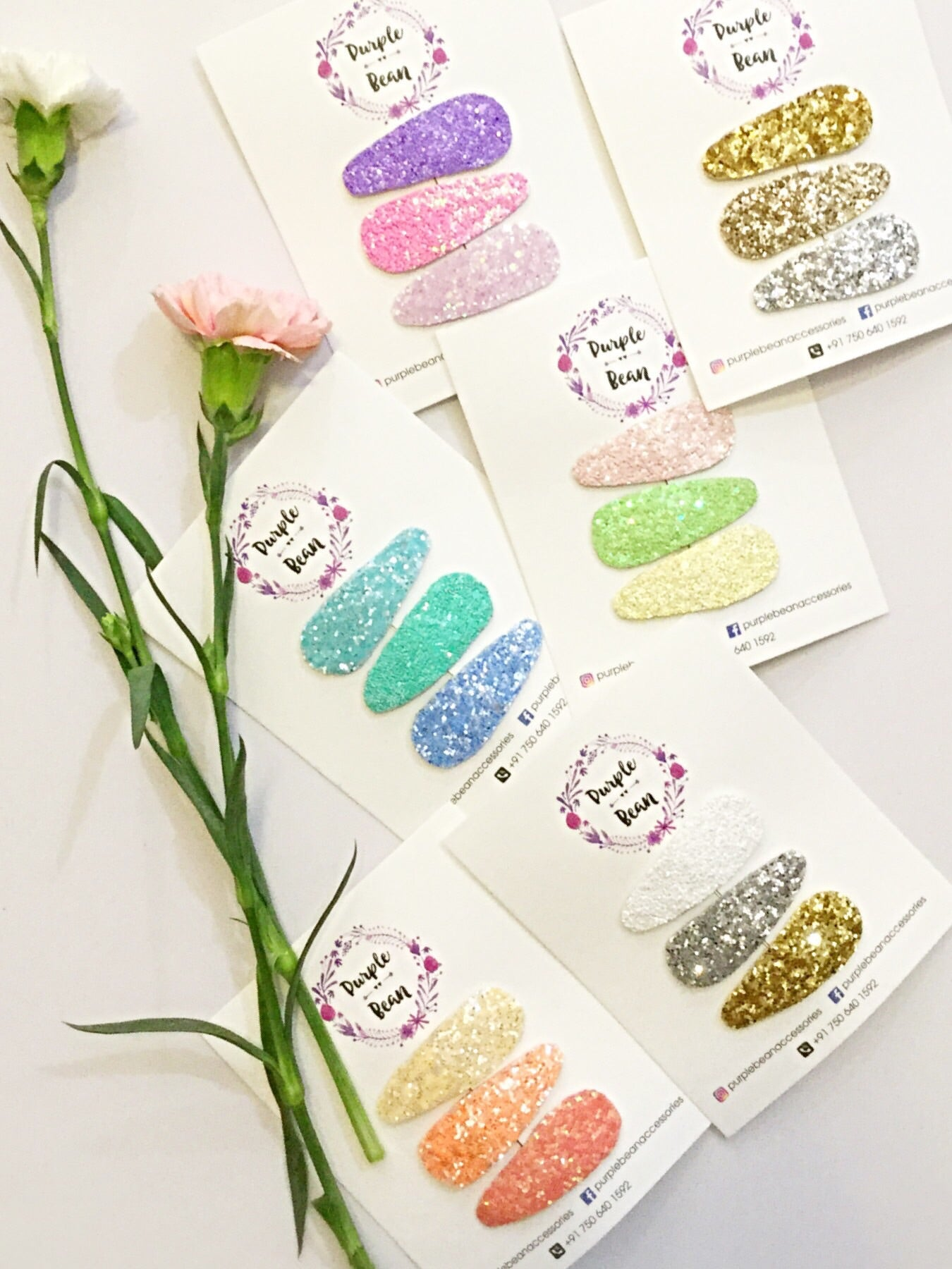 Pretty Pink + Purple Glitter Snap Clip set of 3