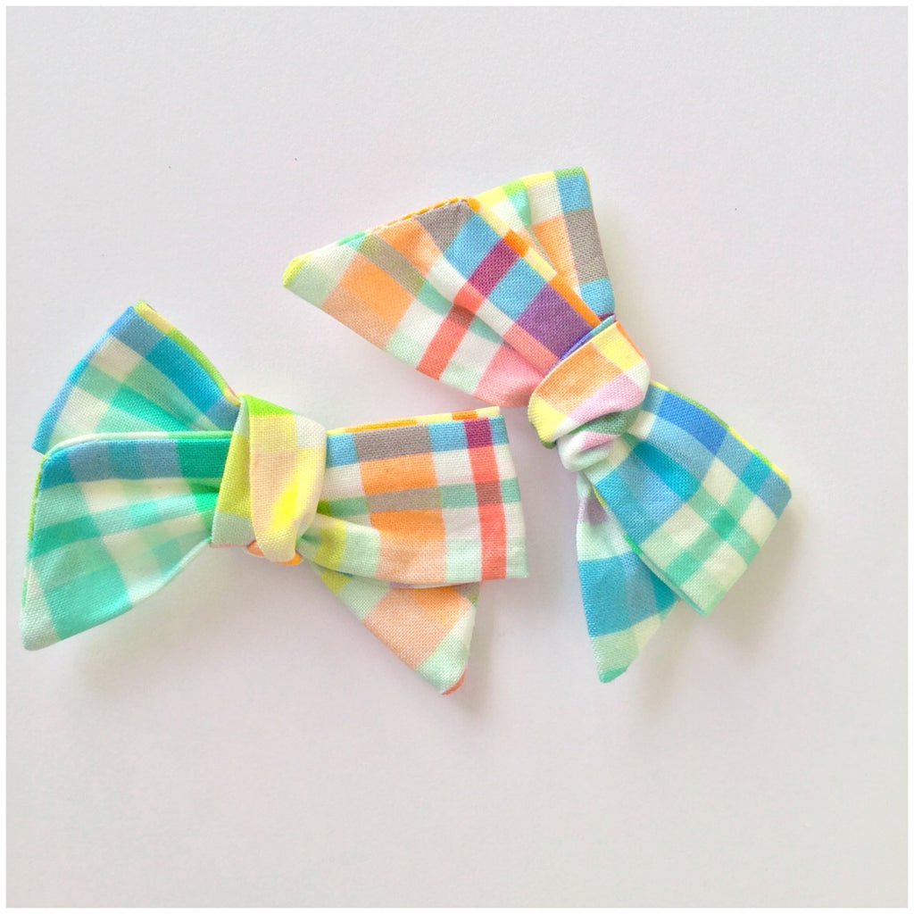 Rainbow Gingham | Bow