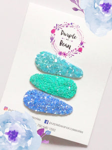 Shades of Ocean | Glitter Snap Clip Set of 3