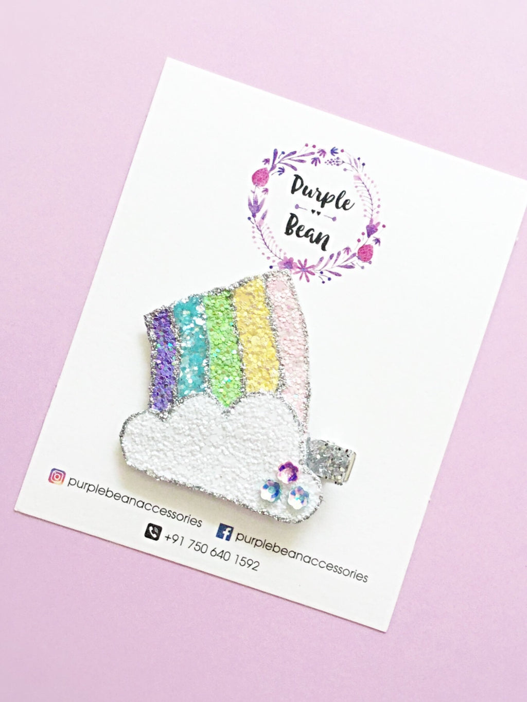 Rainbow Cloud | Glitter Hair Clip