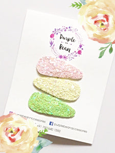 Tropical Fruits | Glitter Snap Clip Set of 3