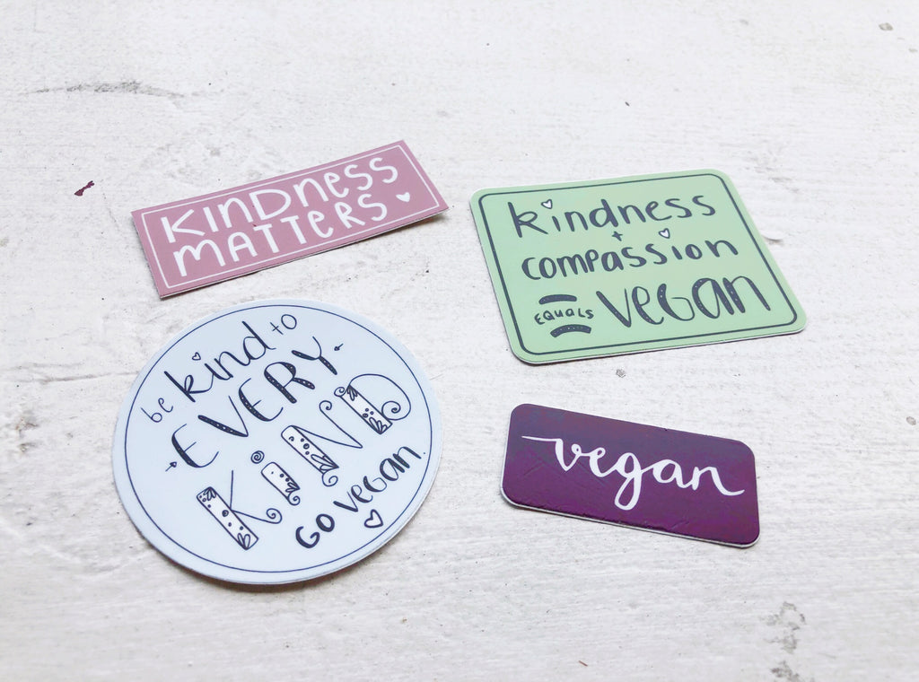 """Vegan Kindness"" Four Sticker Package"