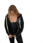 """Eat Plants Feel Good"" Black/White Zip Up"