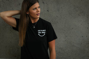 """Eat Plants Feel Good"" Black/White Shirt"