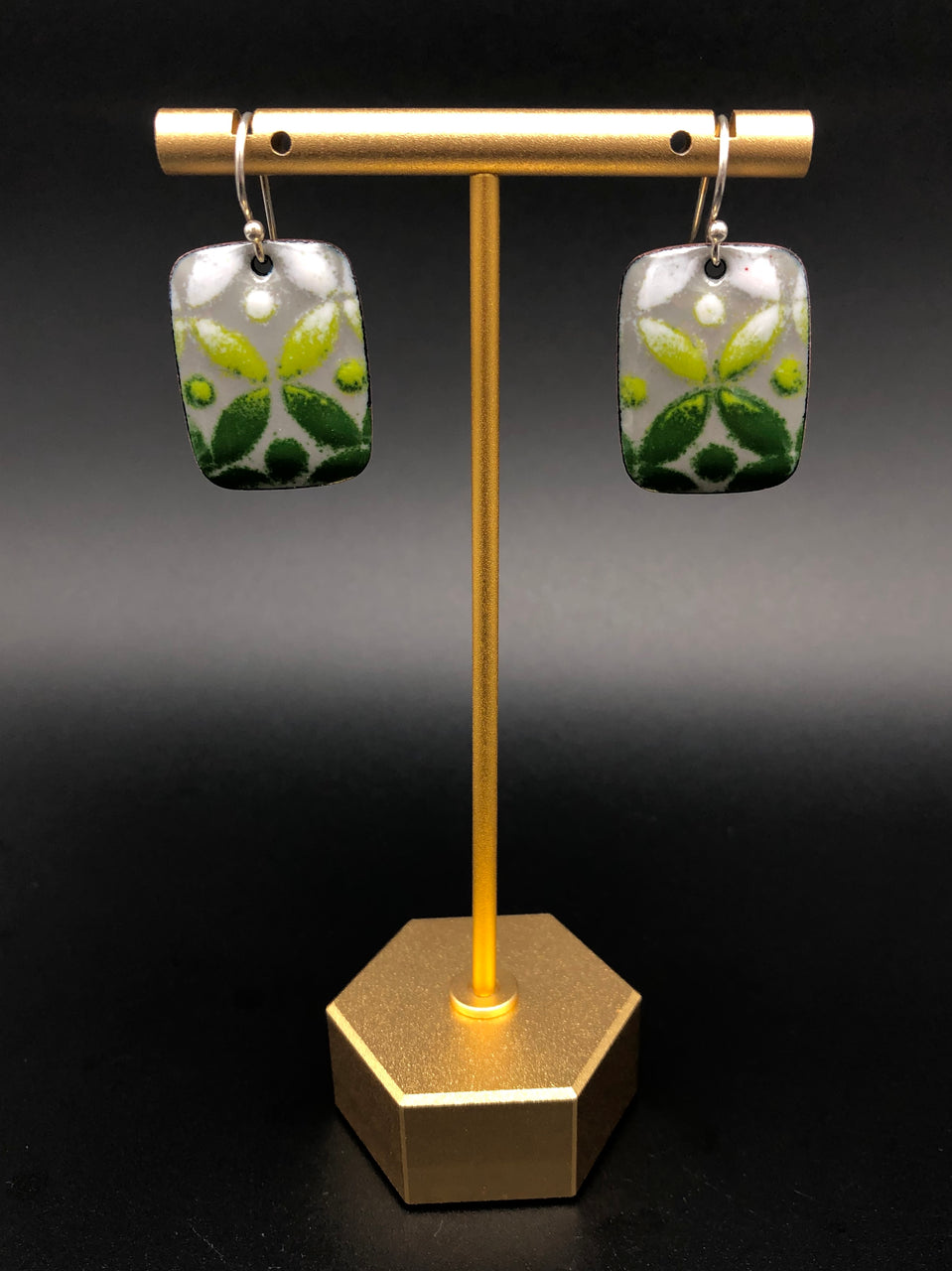 Geometric Rectangle and Teardrop Enamel Earrings