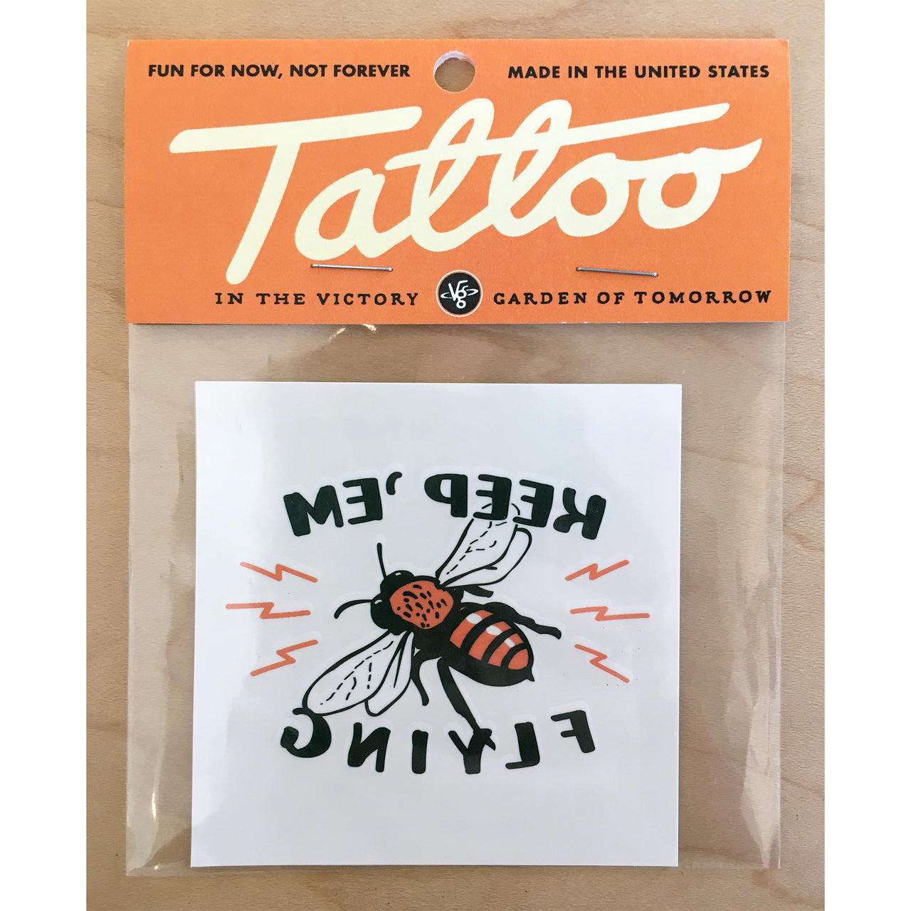 Keep 'Em Flying Bee Temporary Tattoo