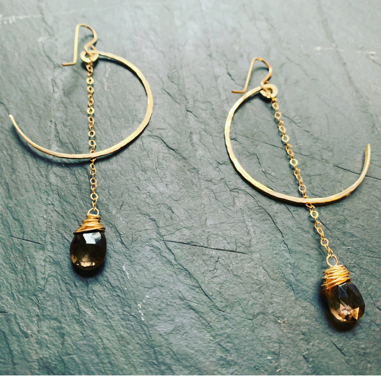 Gold Fill Smoky Quartz Moon Earrings