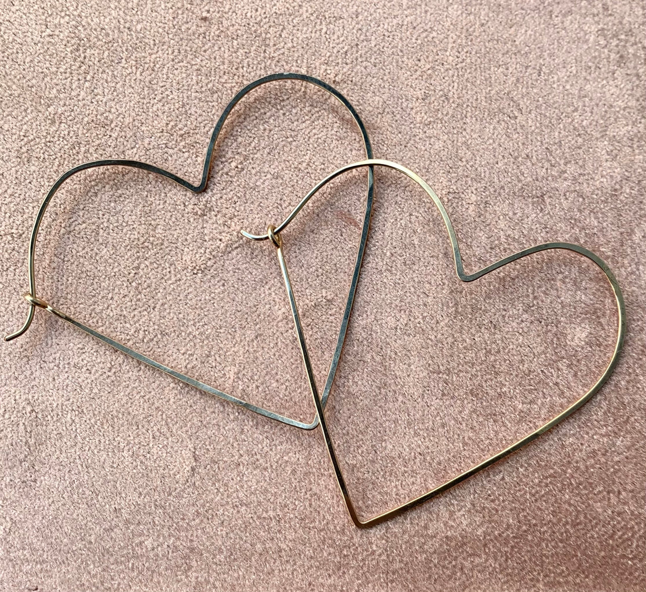 Heart Earrings . Gold Fill and Silver