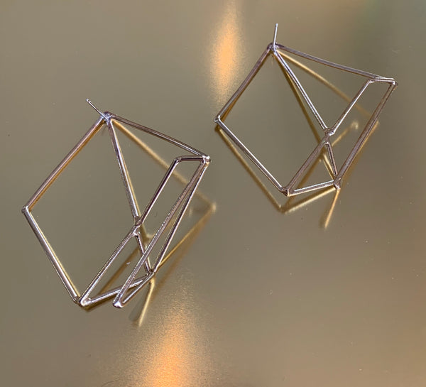 Large Brass and Sterling Matrix Earrings