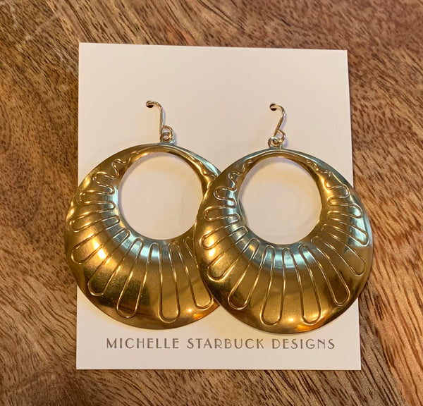 Vintage Brass Hoops with 14 Kt Gold Fill Hooks