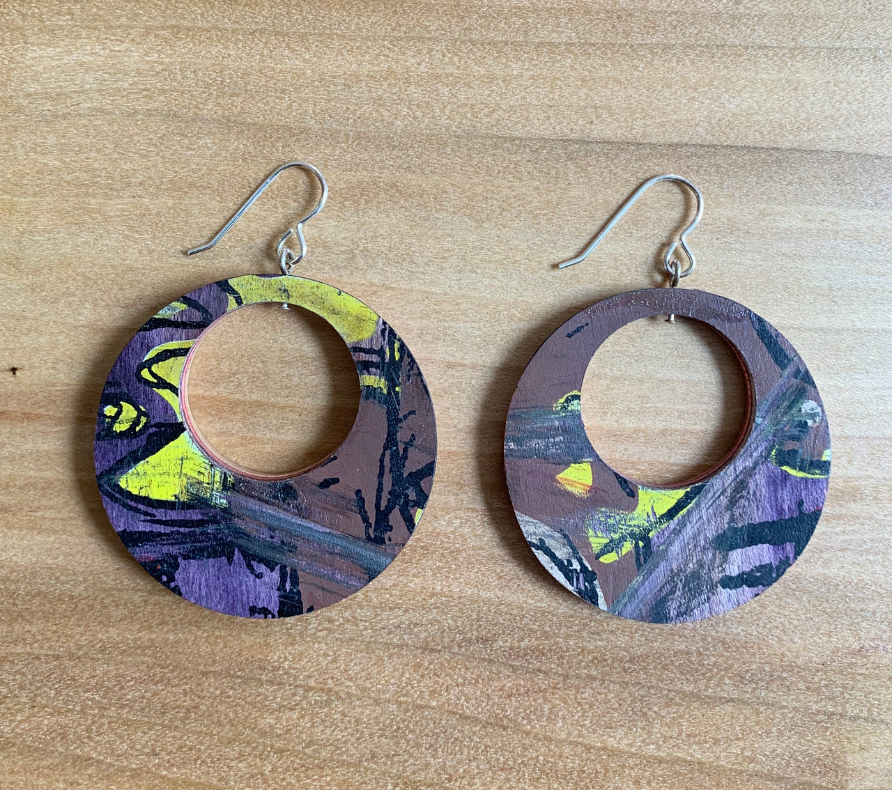 Sterling Silver and Upcycled Skateboard Circle Earrings
