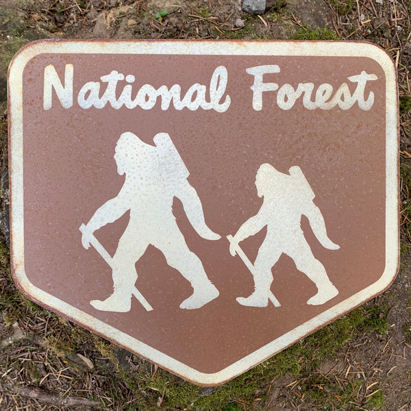 Distressed National Forest Sasquatch / Yeti Sign