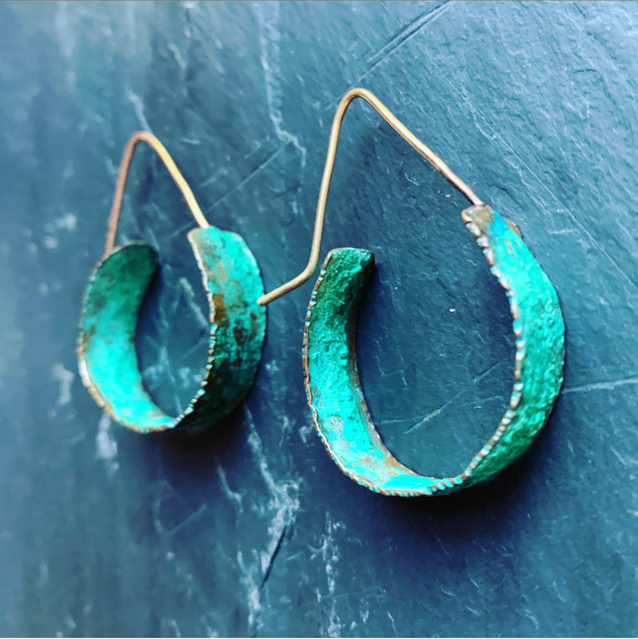 Rose Gold Fill Hooks . Patina Cooper 1-Inch Hoops