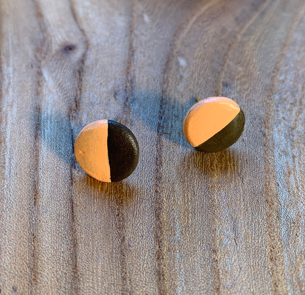 Ceramic Studs . Steel Post . Raw Brass
