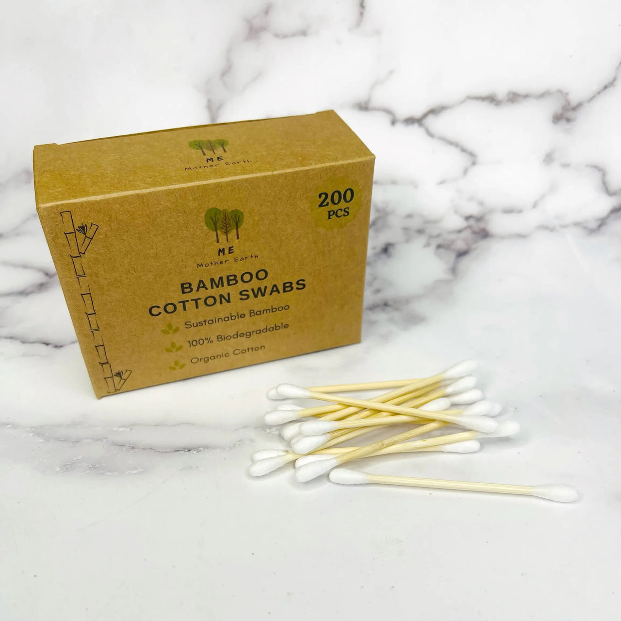 Bamboo Cotton Swabs . 200 Ct.
