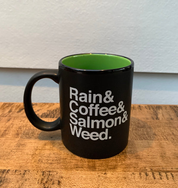 Rain & Coffee & Salmon & Weed Mug