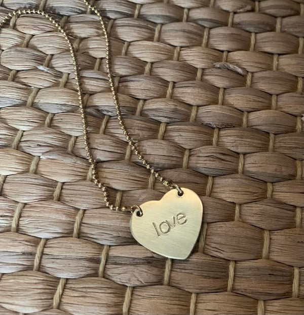 Hand-Stamped Brass Tag Necklace