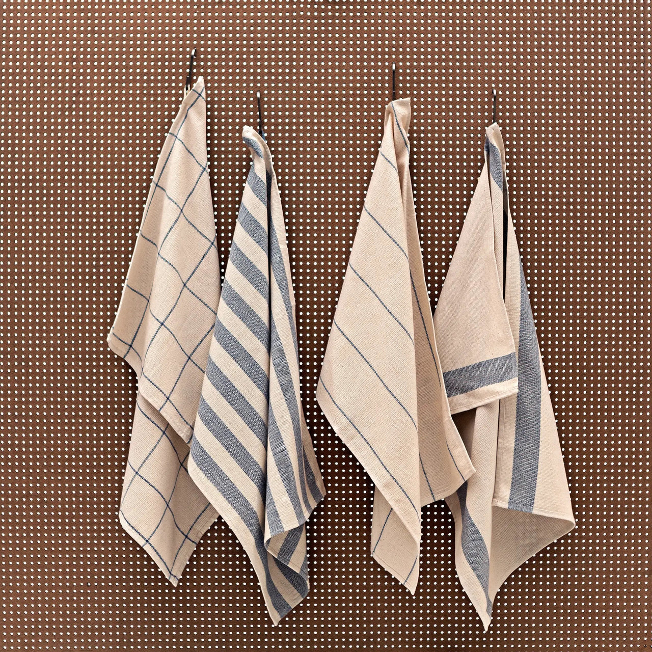 Farmhouse Kitchen Dish Towels . Upcycled Fabric . Set of Four