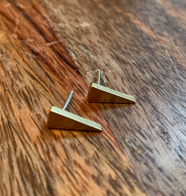 Triangle Brass and Sterling Small Studs