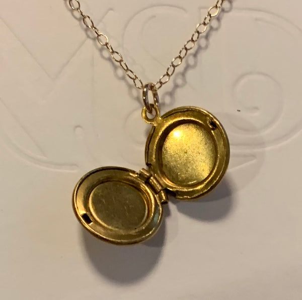Vintage Brass and Mother of Pearl Locket . 14 KT Gold Chain