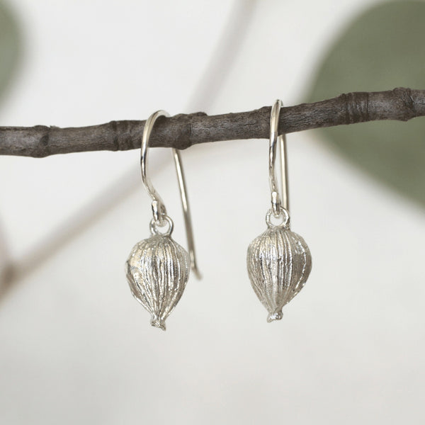 Reclaimed Sterling Silver Cardamom Pod Earrings