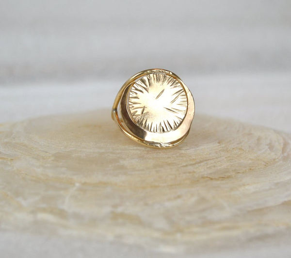 Helios - Brass Crescent Moon Ring
