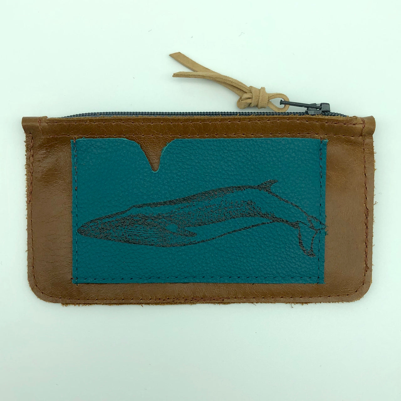 Zippered Sown Leather Coin Purse
