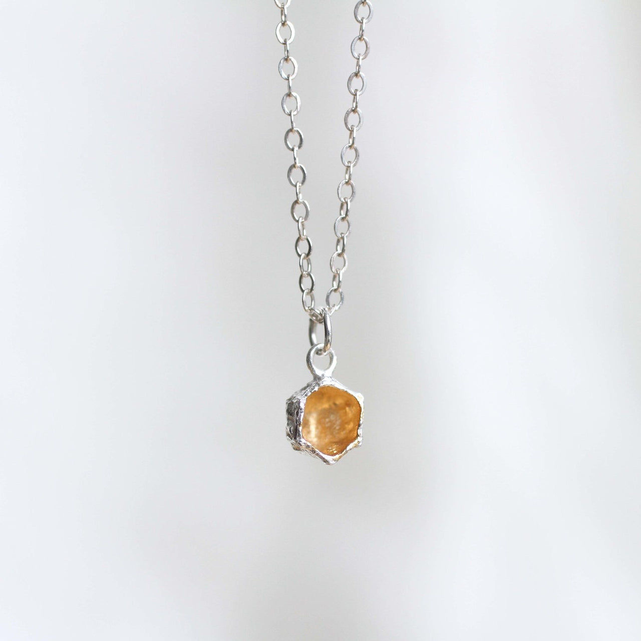 Honeycomb Prism Necklace . 14 kt Gold and Sterling
