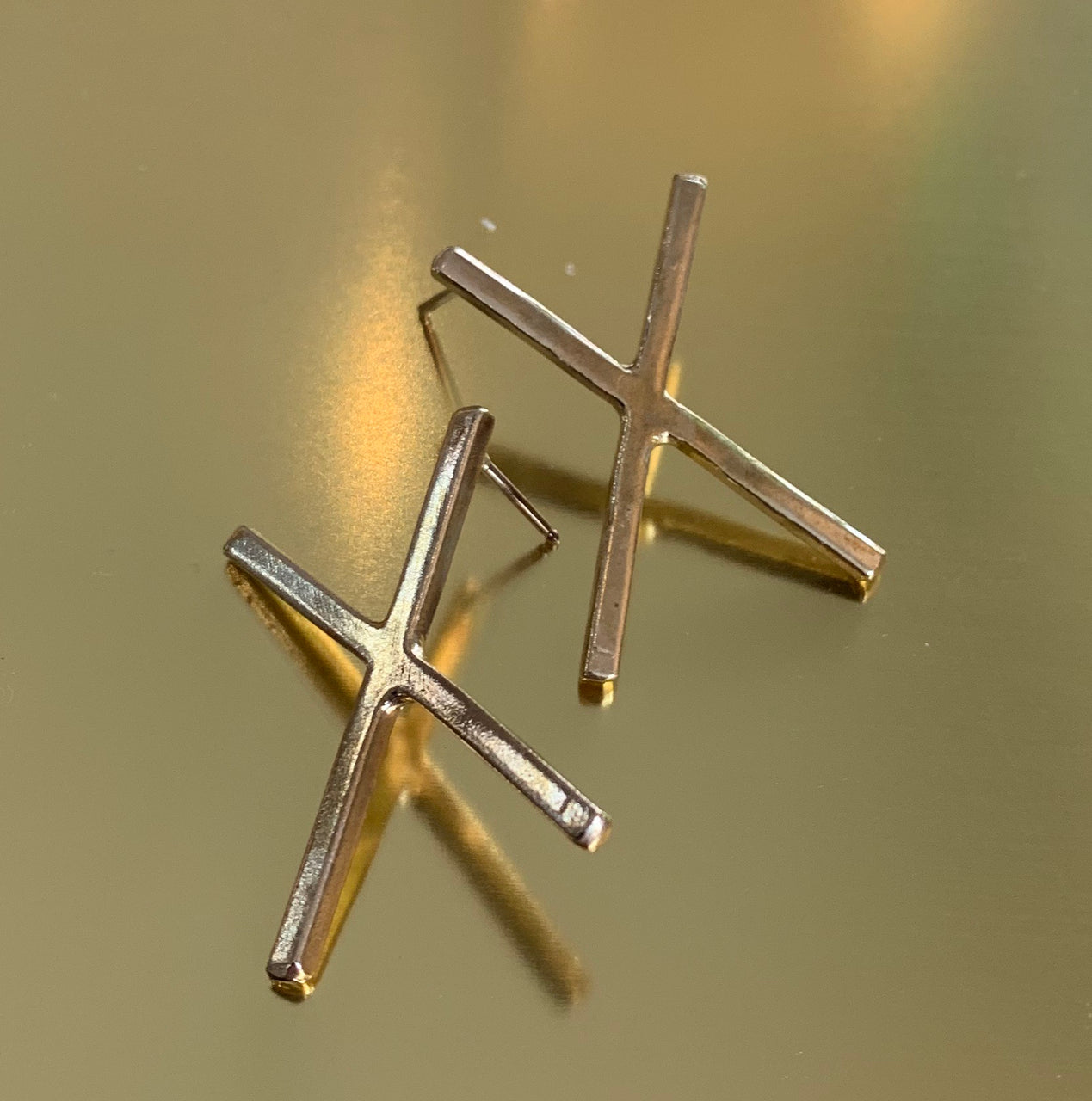 Brass and Sterling X Earrings