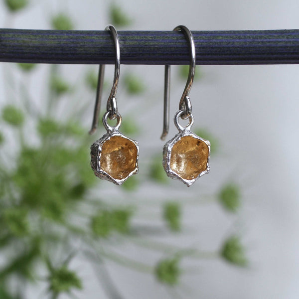 Honeycomb Prism Drops . 14 kt Gold and Sterling