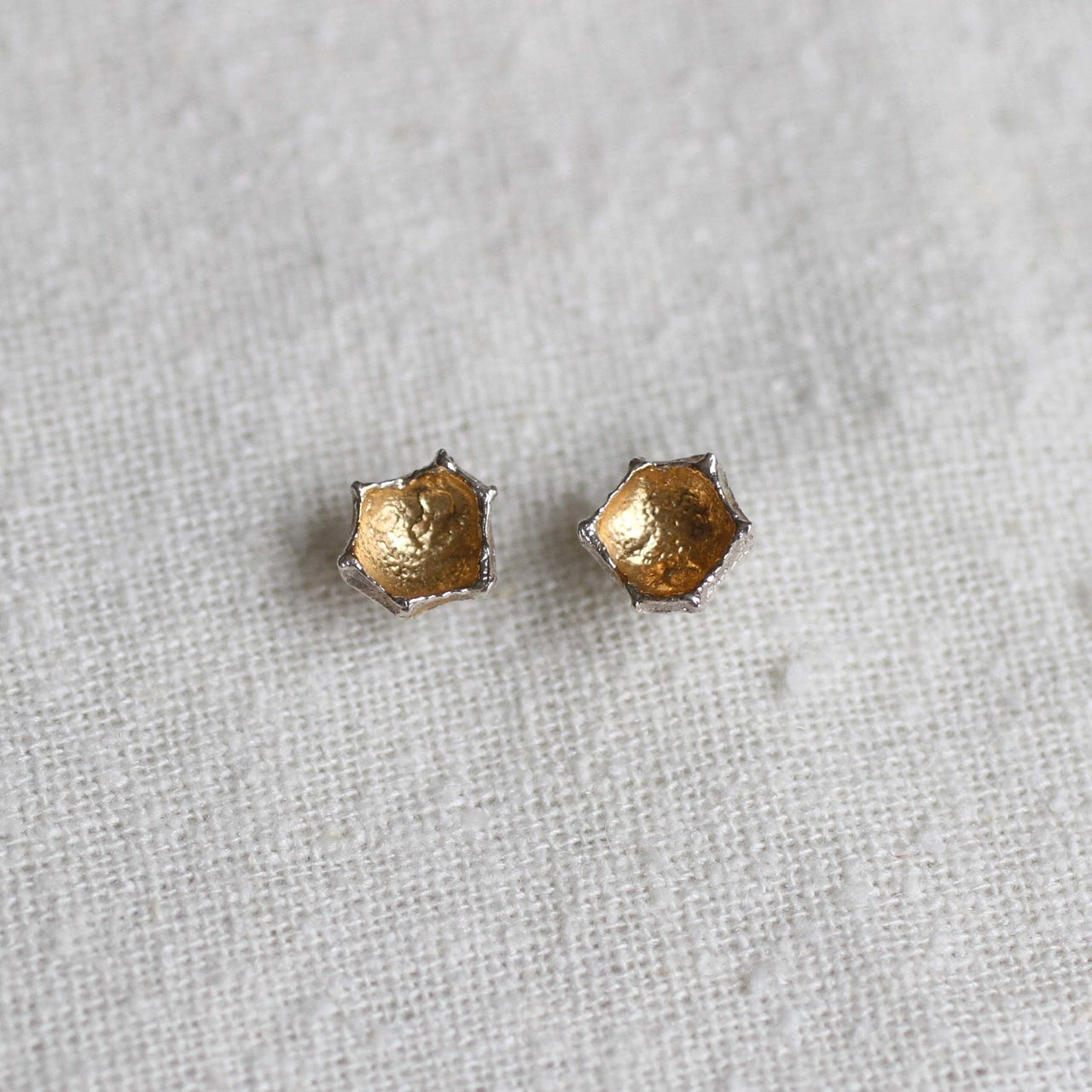Honeycomb Prism Studs . 14 kt Gold/Silver or Silver