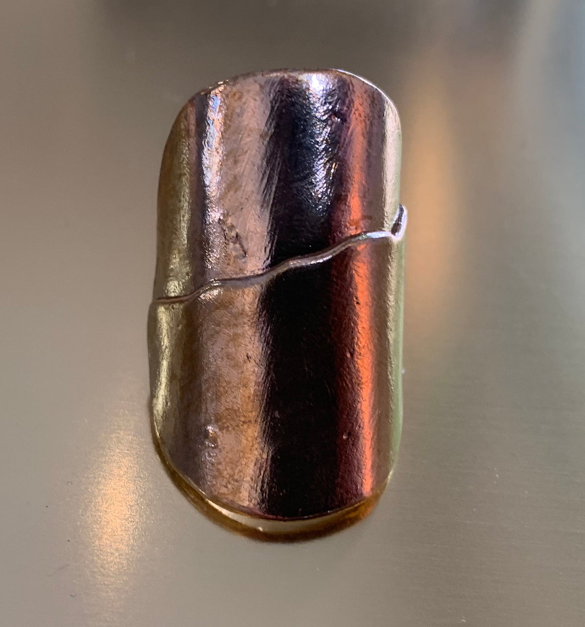 Mountain Ring - Brass and Gold Plated . Size 7