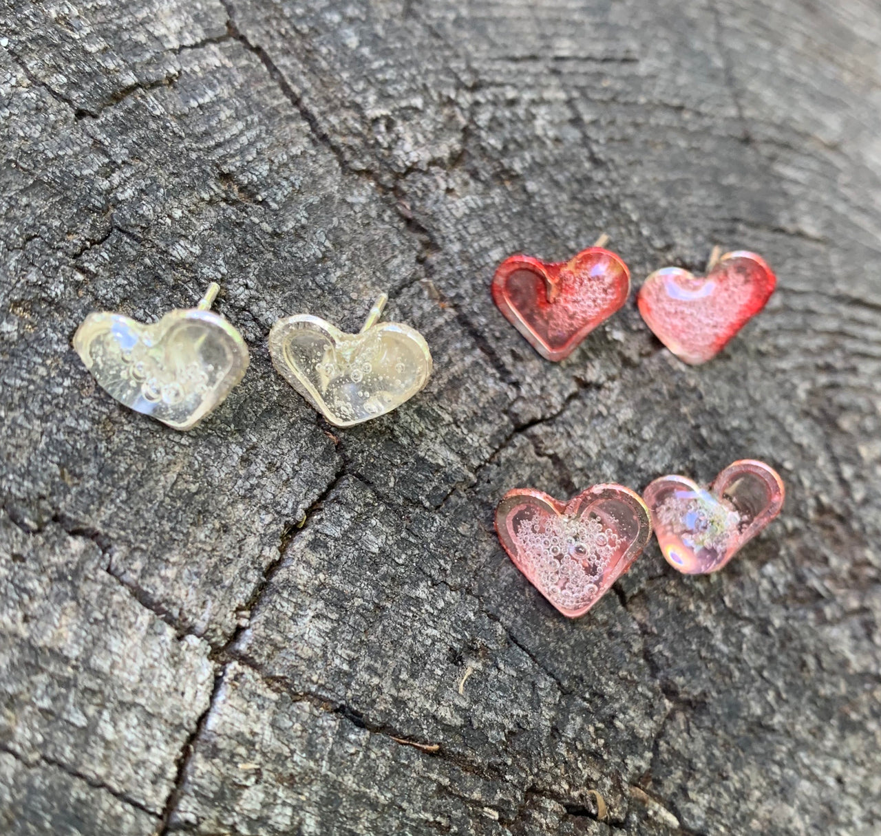 Heart Studs . Amor . Resin, Sterling and Plant Paper