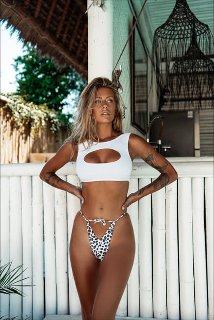 HARD TIE ME DOWN WHITE LEOPARD BOTTOM