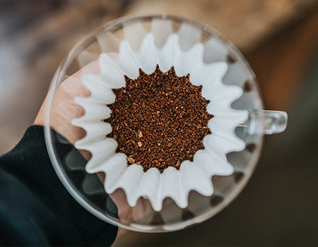 Adding ground coffee to the filter paper