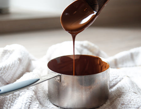 Melted chocolate in a pan