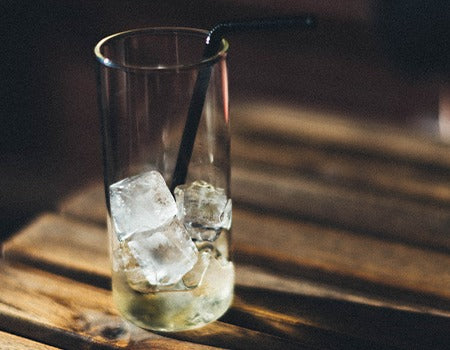 Tall glass filled with Ice