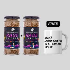 2 Rage Coffee Jars + Mug Combo
