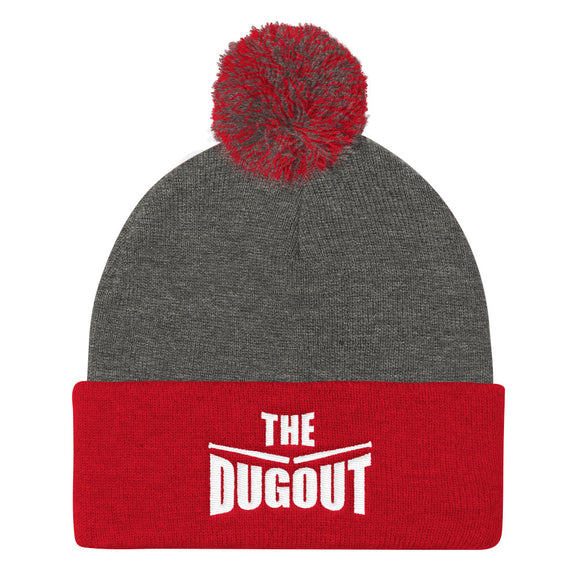 The Dugout Pom Pom Knit Cap Red/Gray