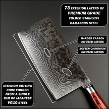 Load image into Gallery viewer, Displaying the Japanese damascus folds visible on the blade profile with the alternating layers of chromium and carbon infused layers