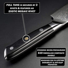 Load image into Gallery viewer, Nakiri knife laying flat while detailing the full tang and a g10 fiberglass handle