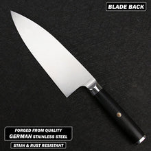 Load image into Gallery viewer, Back part of blade profile for 356mm German stainless steel deba knife on a black cutting surface