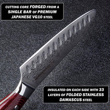 Load image into Gallery viewer, Professional chef holding the 297mm santoku knife to display the damascus steel blade edge over a black granite cutting board
